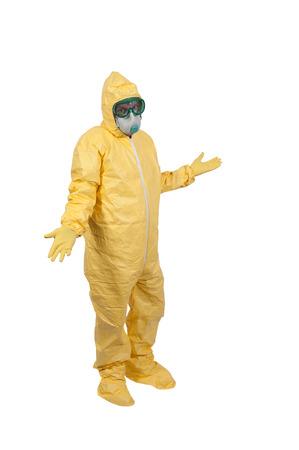 hazmat: L'uomo indossa una tuta ignifuga di fronte a malattie infettive Archivio Fotografico