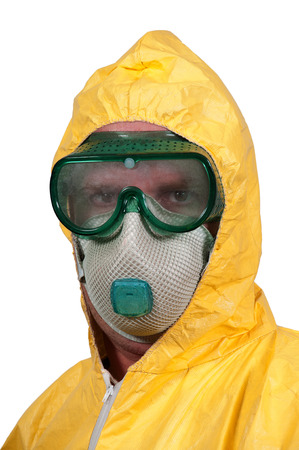 Man wearing a hazmat suit in the face of infectious disease 免版税图像