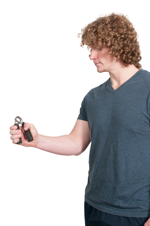 Man with hand gripper