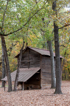outbuilding: Vinatge old fashioned tobacco barn on a farm
