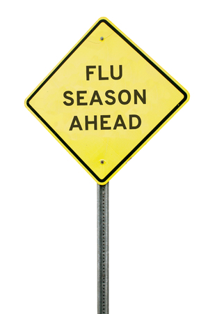 노란색 독감 계절 앞서 고속도로 도로 표지판 스톡 콘텐츠