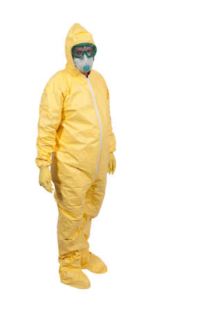 protective: Man wearing a hazmat suit in the face of infectious disease Stock Photo