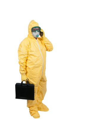 ppe: Man wearing a hazmat suit in the face of infectious disease Stock Photo