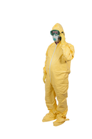 Man wearing a hazmat suit in the face of infectious disease Stockfoto
