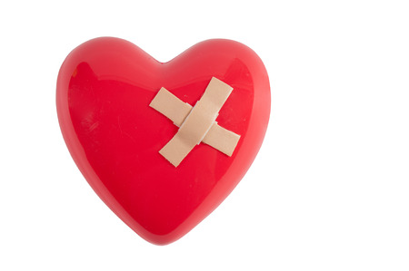 heart symbol: Broken heart mended by a couple of adhesive bandages