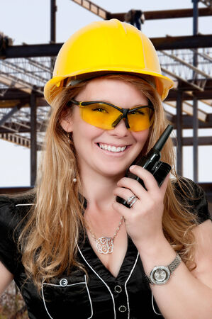 job site: Female construction worker on a job site
