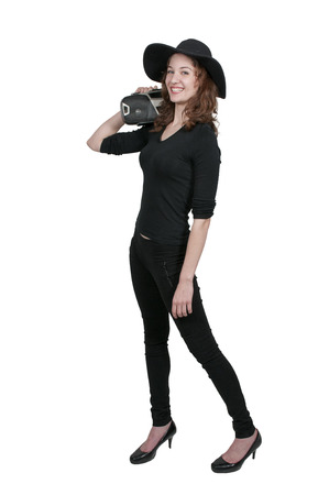 boom box: Beautiful woman holding a boom box on her shoulder
