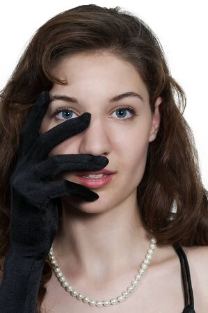 high society: Beautiful young attractive high society woman wearing formal opera gloves