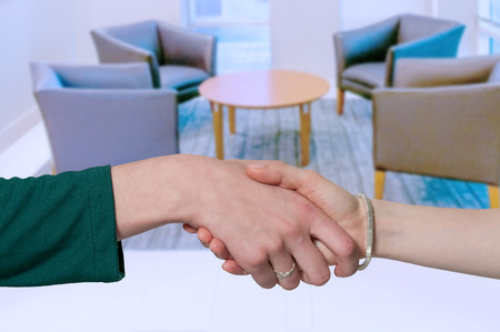 Couple of business women shaking hands during a business deal