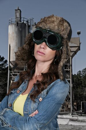 steampunk goggles: Beautiful young woman wearing steampunk type attire