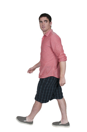 people in action: Handsome man going for a long walk Stock Photo
