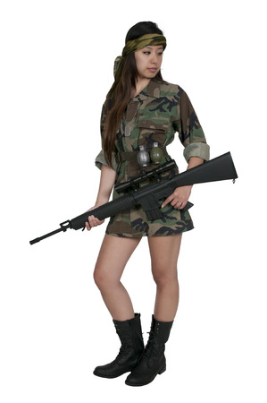 m16: Beautiful young woman soldier with a M16 rifle