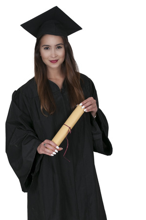 robes: Young woman in her graduation robes