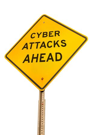 cyber attacks: Caution yellow warning type American road sign that warns of cyber attacks ahead