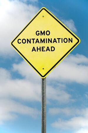 warning signs: Roadsign warning that there is GMO contamination ahead
