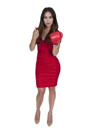 hither: Beautiful young woman wearing a pair of boxing gloves