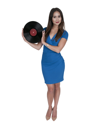 lps: Beautiful woman with vintage record album lps