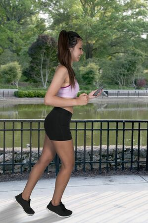 mpg: Beautiful woman jogging for health and fitness