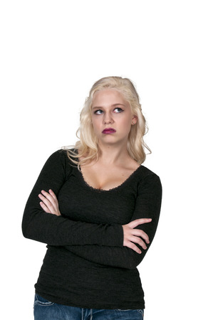Beautiful young woman with the look of disgust