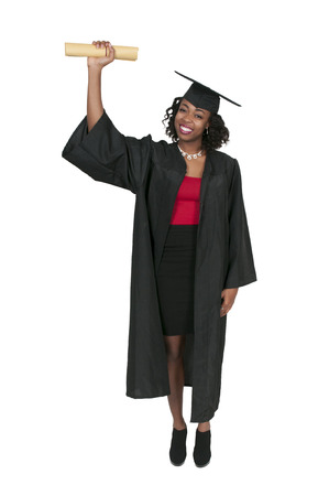 robes: Young black african American woman in her graduation robes