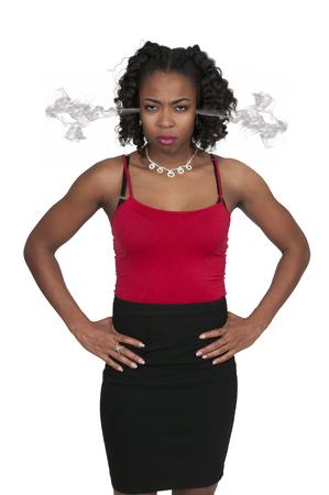 hot temper: Hermosa mujer joven que est� loco vapor