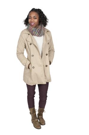 winter fashion: Beautiful woman wearing her winter coat and scarf