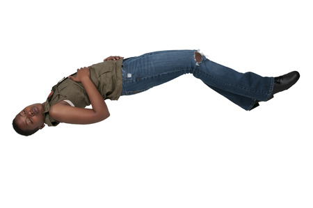 Beautiful young black woman floating in the air Stock Photo