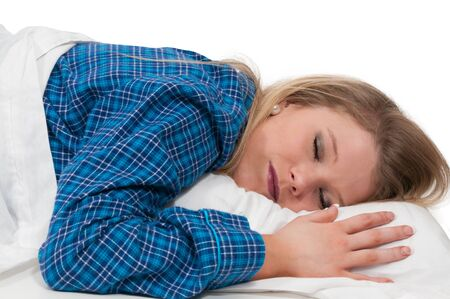 nighty: Beautiful young woman in bed at bedtime Stock Photo
