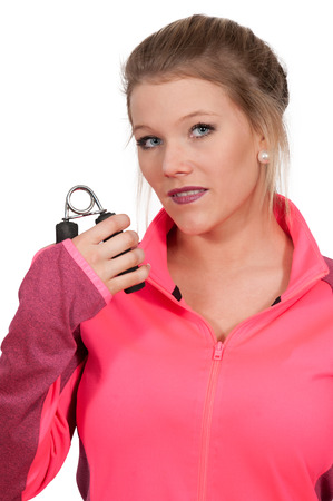 gripper: Occupational Therapy Exercising with a hand gripper Stock Photo