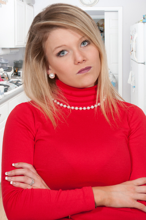 bad temper: Beautiful young woman who is steaming mad