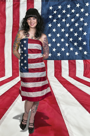tatt: Beautiful young woman wrapped in a fla