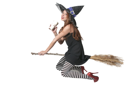 wicked woman: Beautiful woman wicked witch with ruby shoes with coffee Stock Photo