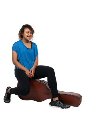 guitar case: Beautiful young woman with a acoustic guitar case Stock Photo