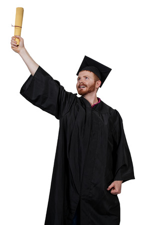 robes: Young man in his graduation robes Stock Photo