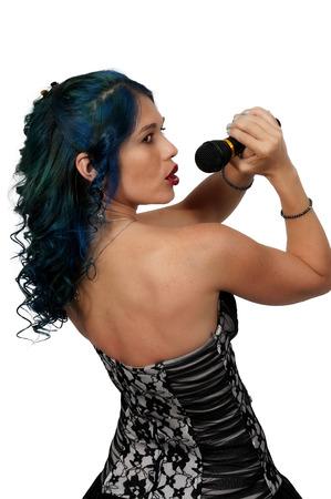 rocker girl: Mujer hermosa cantante actuando en un concierto Foto de archivo