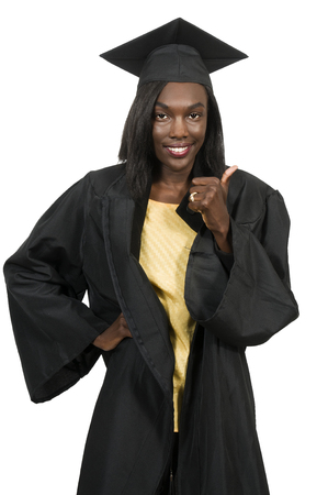 graduated: Young black african American woman in her graduation robes