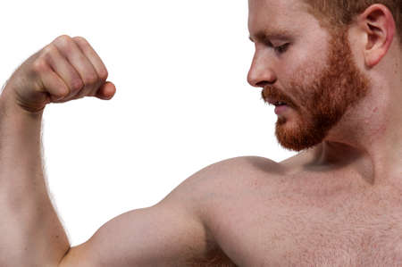 flexing: Handsome man body builder flexing his muscles Stock Photo