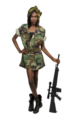 sexy black woman: Beautiful young woman soldier with an assault rifle