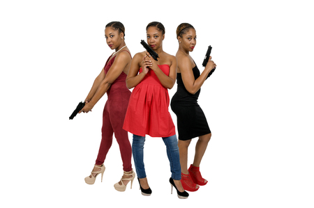 mobster: Beautiful young women with  pistols