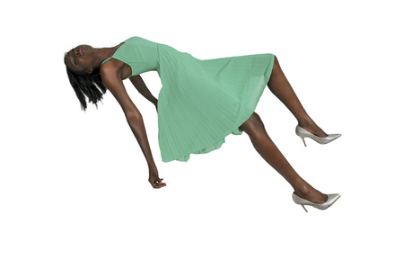 wican: Beautiful young black woman floating in the air Stock Photo