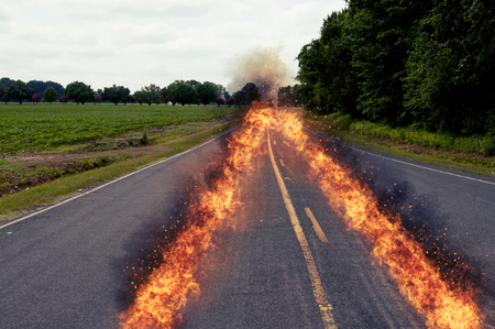 On fire path of a fast car Stock Photo