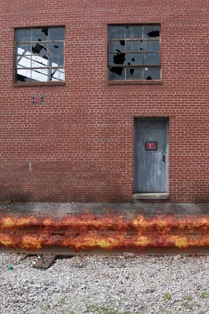 speeding: Fire on train tracks from a speeding train Stock Photo