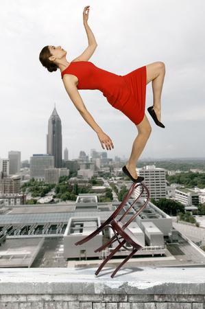 tripped: Beautiful woman as she slips trips and falls