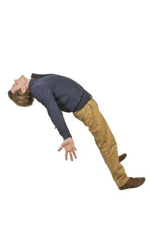 tripped: Handsome young man tripping slipping and falling
