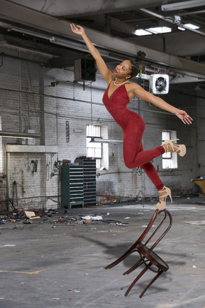 tripped: Beautiful black woman as she slips trips and falls