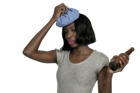 Beautiful woman with a painful pounding headache