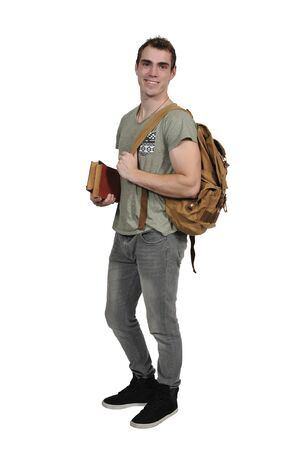 back pack: Man student with a back pack or book bag
