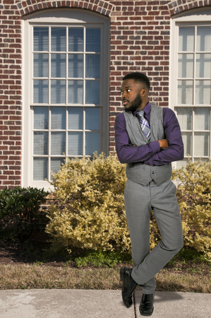african business: Young handsome black African American business man
