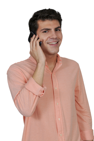 hear business call: Young man talking on a cell phone