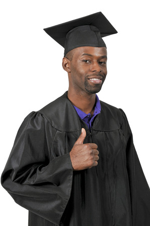 Young black African American man in his graduation robes Stock Photo